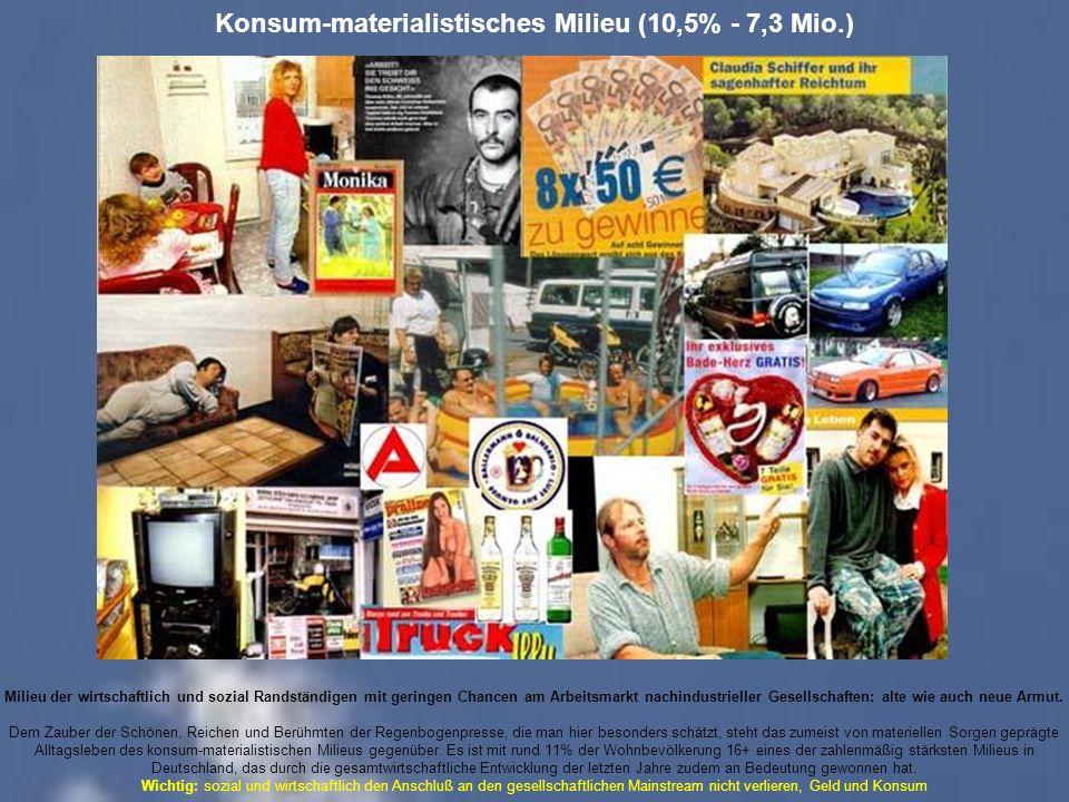 Konsum-materialistisches Milieu (10,5% - 7,3 Mio.)