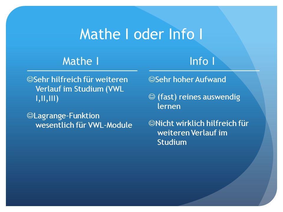 Mathe I oder Info I Mathe I Info I