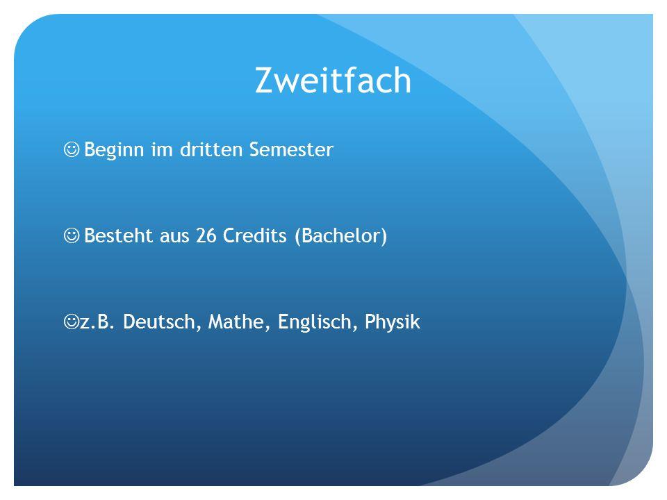 Zweitfach Beginn im dritten Semester Besteht aus 26 Credits (Bachelor)