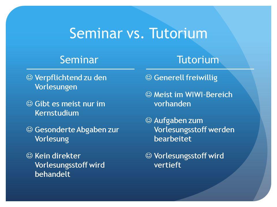 Seminar vs. Tutorium Seminar Tutorium Verpflichtend zu den Vorlesungen