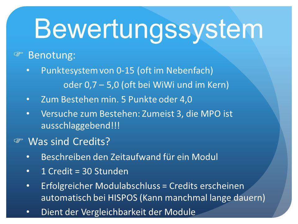 Bewertungssystem Benotung: Was sind Credits