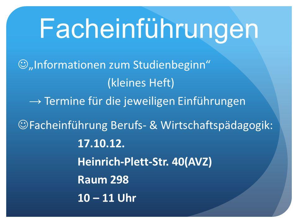 """Facheinführungen """"Informationen zum Studienbeginn (kleines Heft)"""