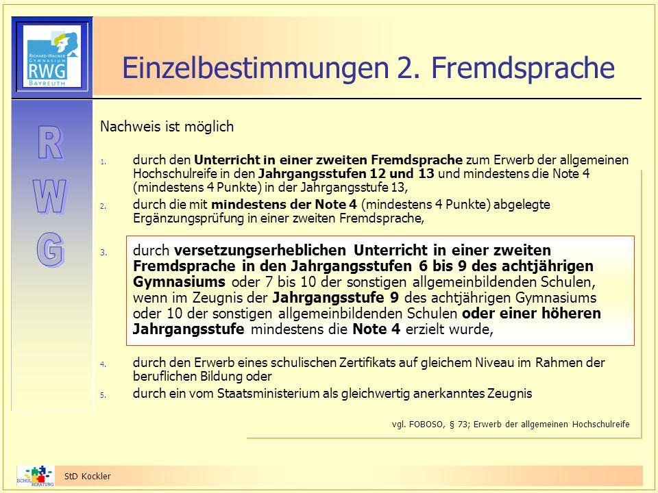 Einzelbestimmungen 2. Fremdsprache