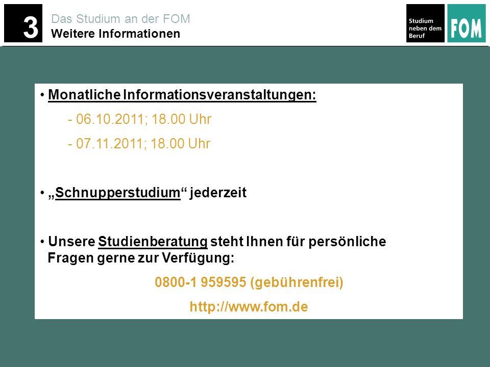 0800-1 959595 (gebührenfrei) http://www.fom.de