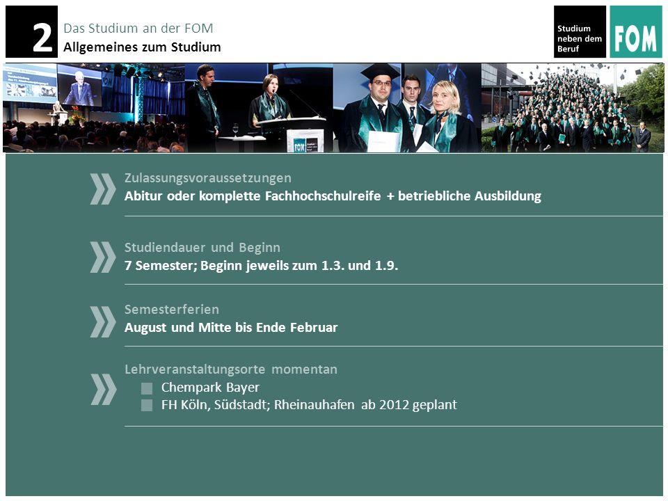 Das Studium an der FOM Allgemeines zum Studium. Zulassungsvoraussetzungen. Abitur oder komplette Fachhochschulreife + betriebliche Ausbildung.