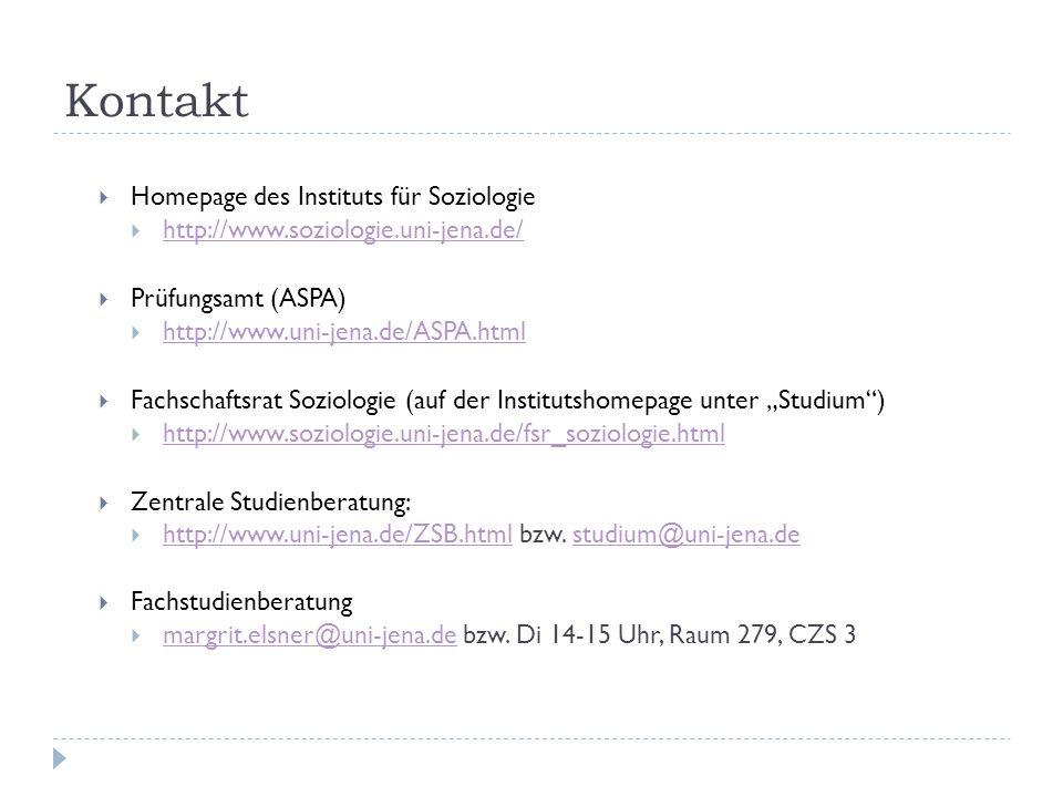 Kontakt Homepage des Instituts für Soziologie