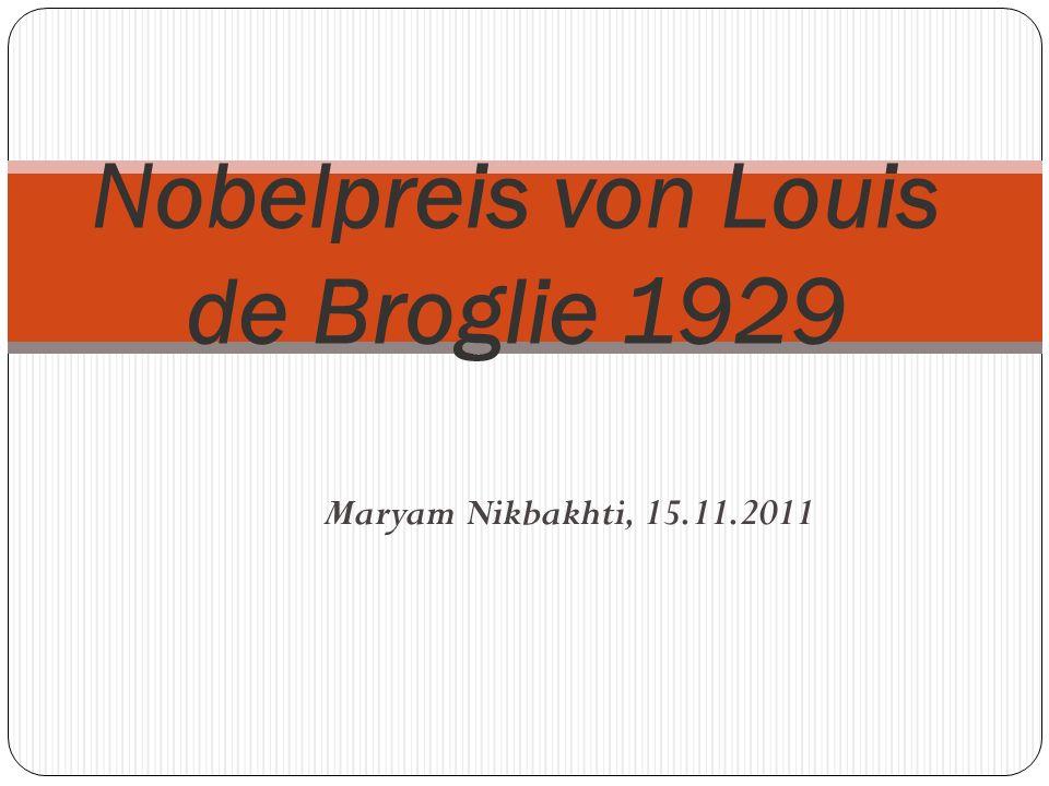 Nobelpreis von Louis de Broglie 1929