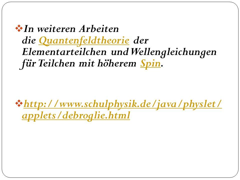 In weiteren Arbeiten die Quantenfeldtheorie der Elementarteilchen und Wellengleichungen für Teilchen mit höherem Spin.
