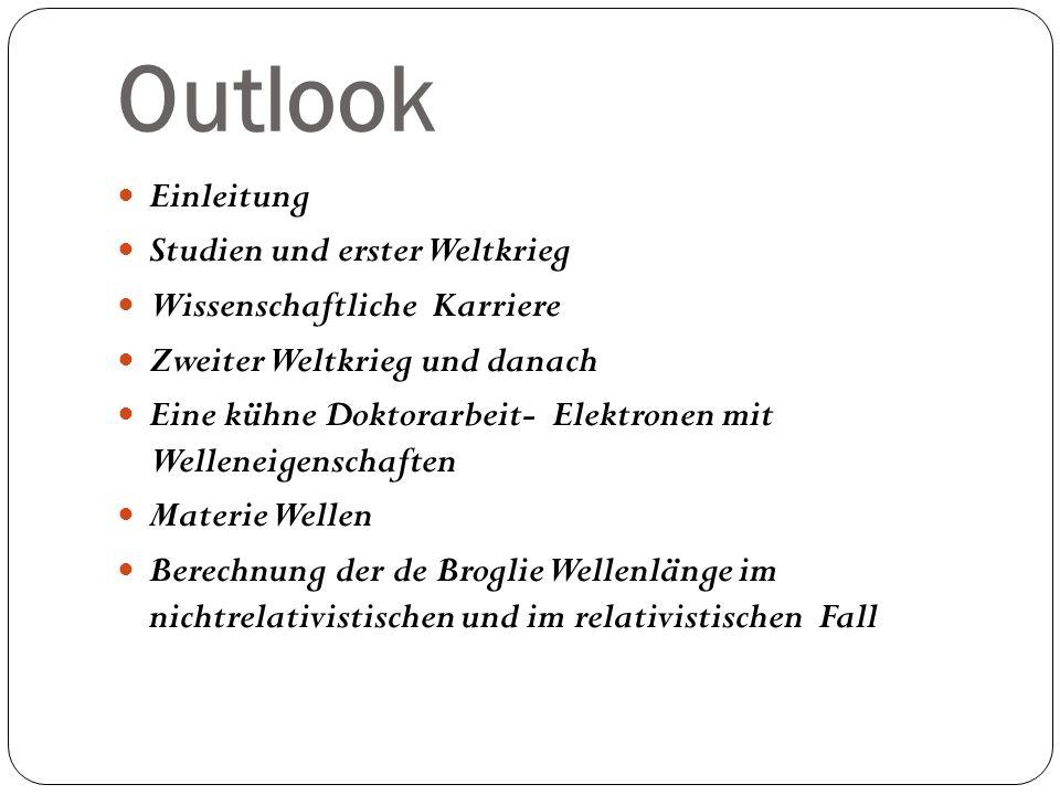 Outlook Einleitung Studien und erster Weltkrieg