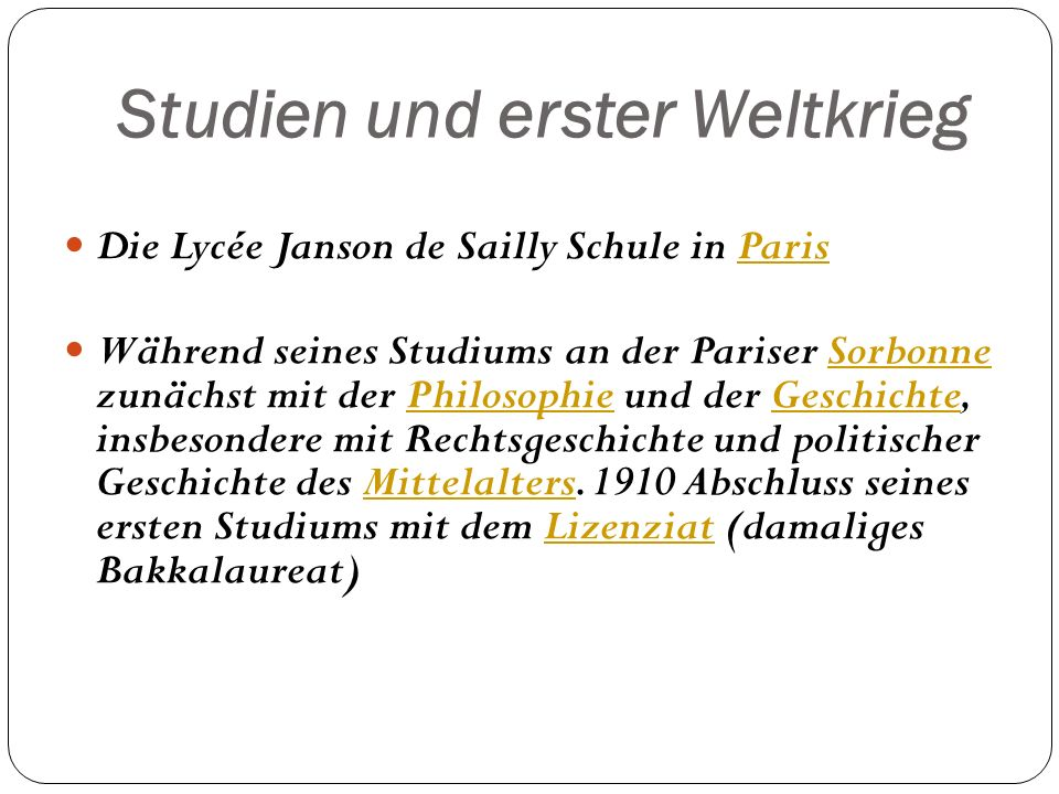 Studien und erster Weltkrieg