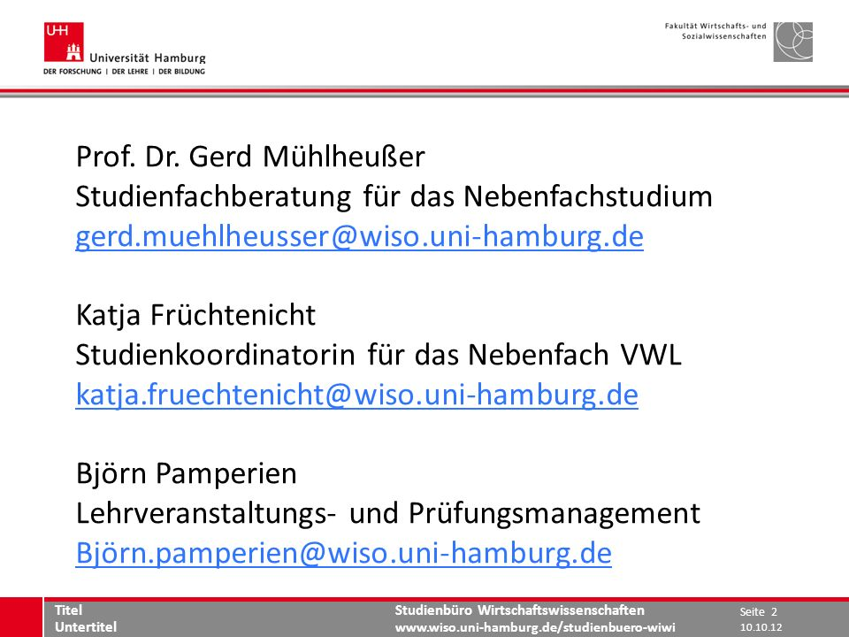 Prof. Dr. Gerd Mühlheußer Studienfachberatung für das Nebenfachstudium