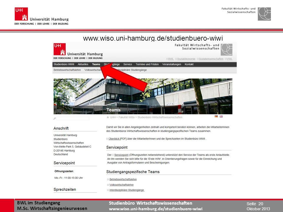 www.wiso.uni-hamburg.de/studienbuero-wiwi Oktober 2013