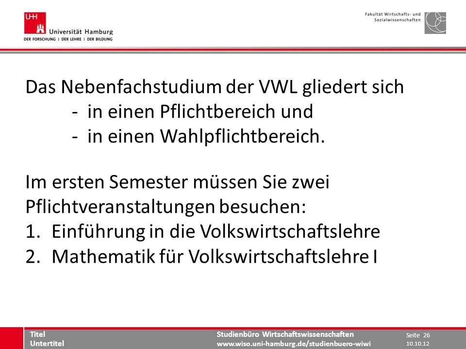 Das Nebenfachstudium der VWL gliedert sich