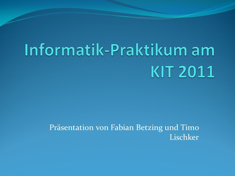 Informatik-Praktikum am KIT 2011