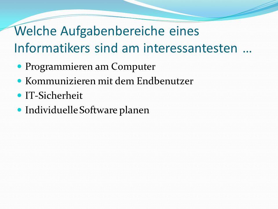 Welche Aufgabenbereiche eines Informatikers sind am interessantesten …