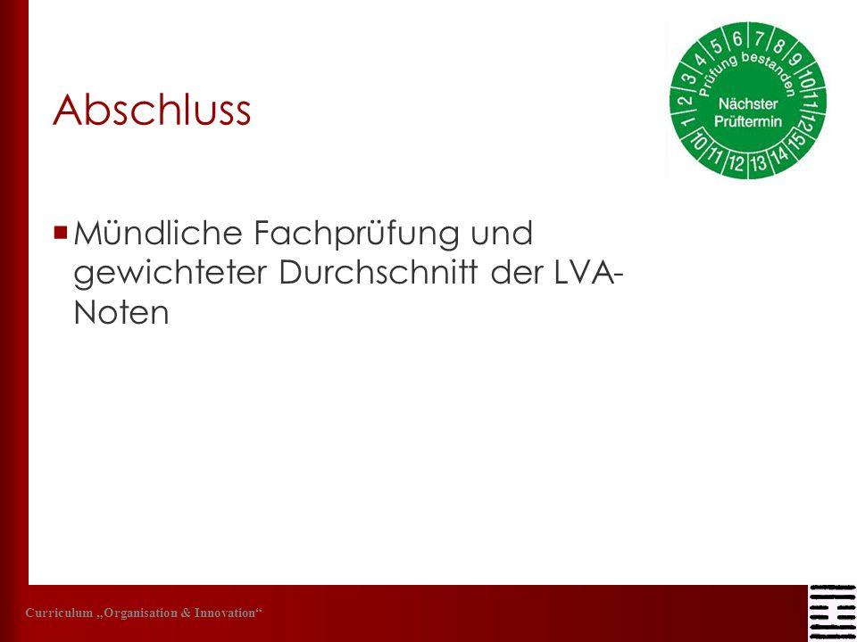 Abschluss Mündliche Fachprüfung und gewichteter Durchschnitt der LVA- Noten.