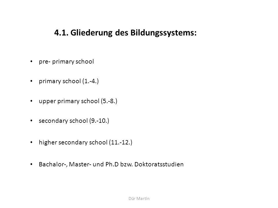 4.1. Gliederung des Bildungssystems: