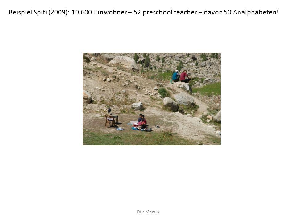 Beispiel Spiti (2009): 10.600 Einwohner – 52 preschool teacher – davon 50 Analphabeten!