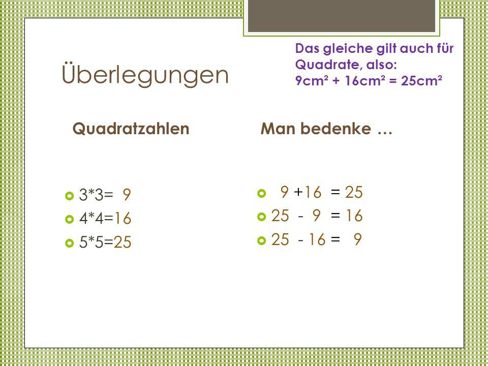 Überlegungen Quadratzahlen Man bedenke … 3*3= 9 4*4=16 5*5=25