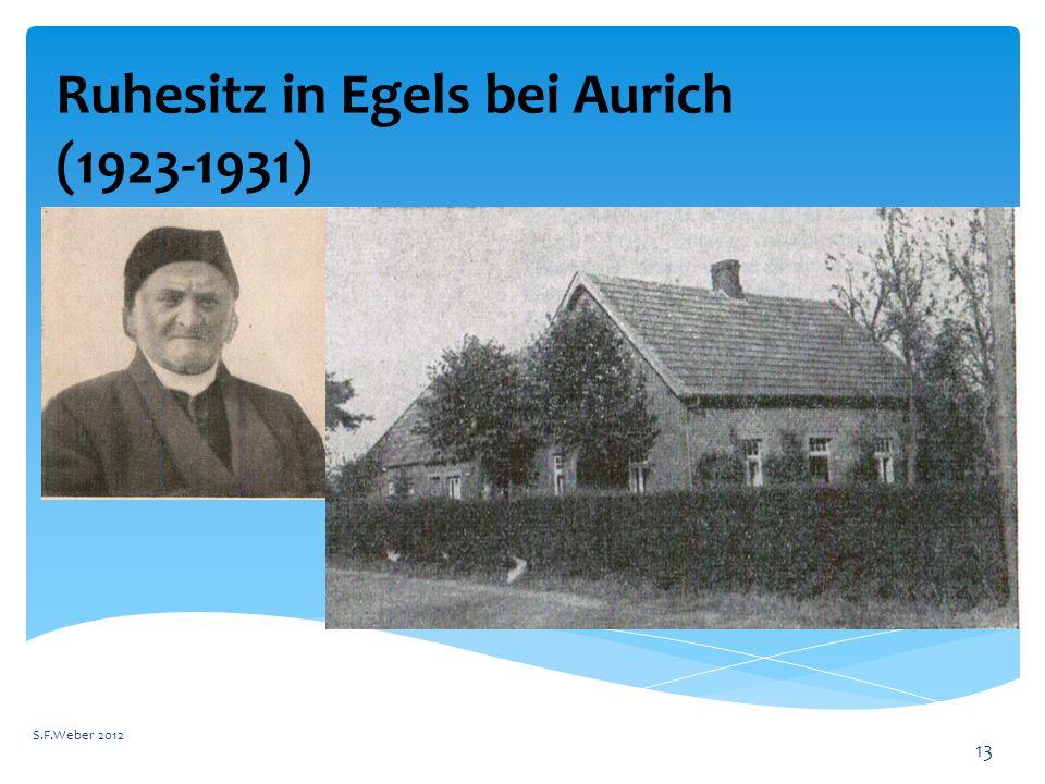 Ruhesitz in Egels bei Aurich (1923-1931)