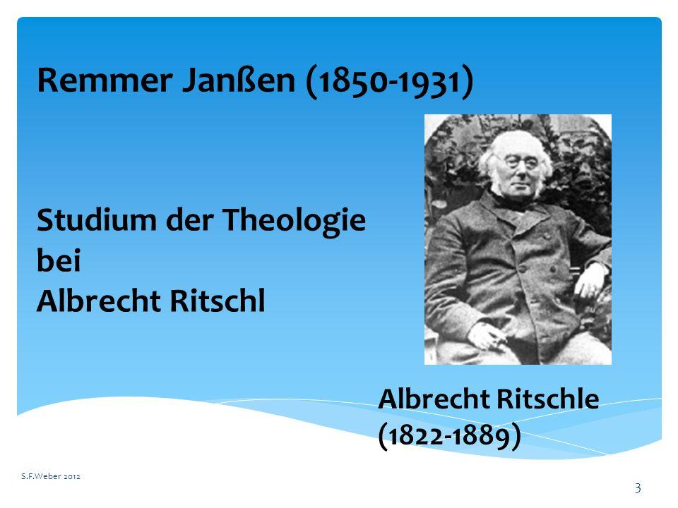 Remmer Janßen (1850-1931) Studium der Theologie bei Albrecht Ritschl
