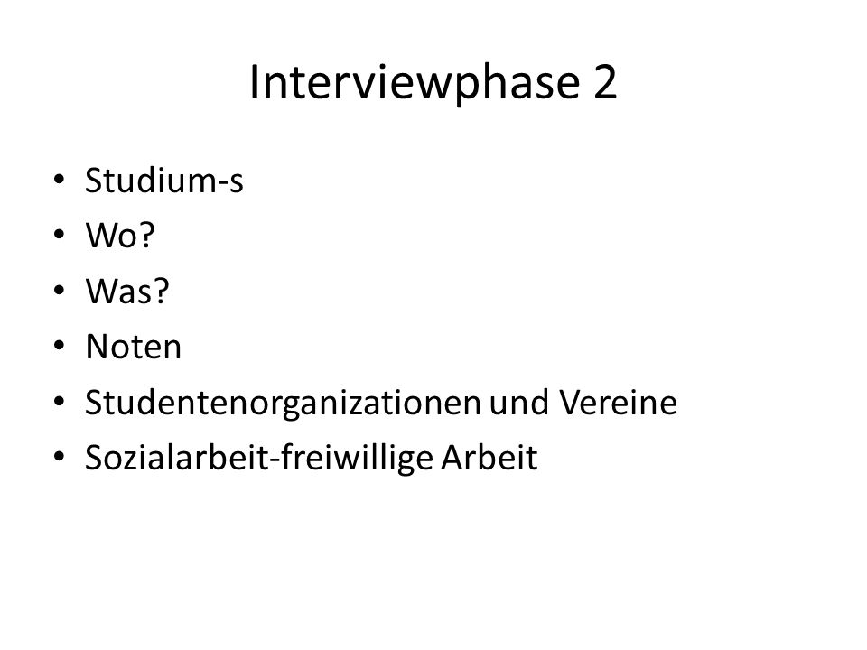 Interviewphase 2 Studium-s Wo Was Noten