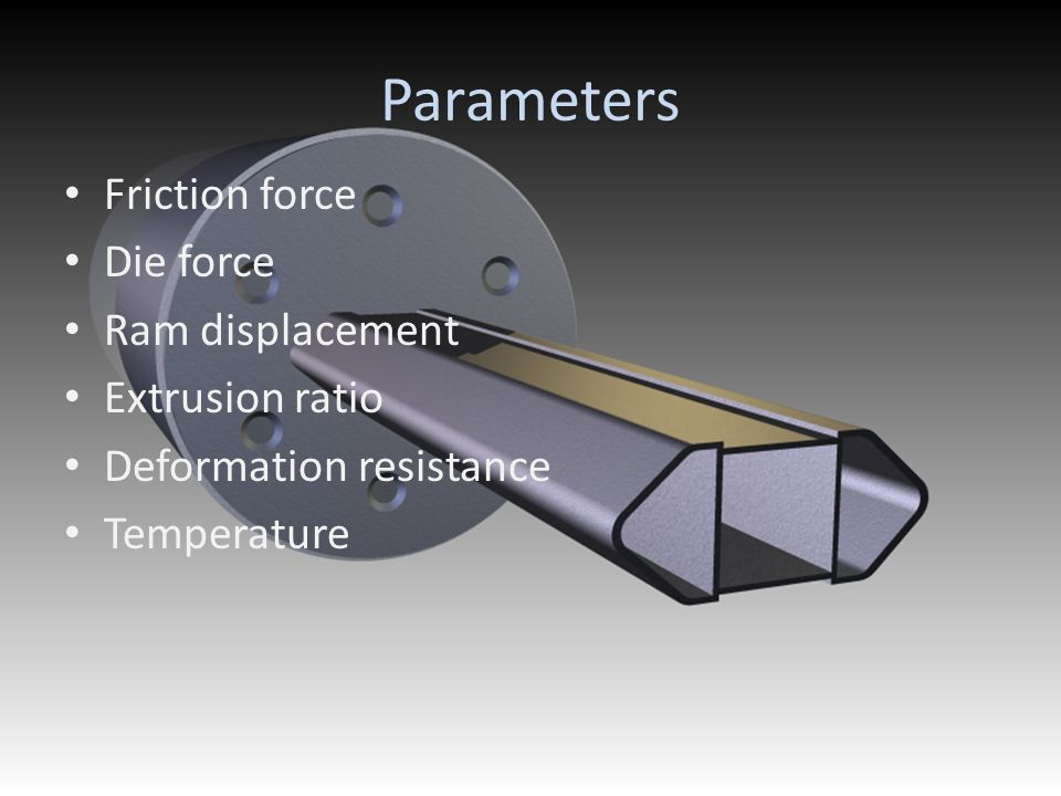 Parameters Friction force Die force Ram displacement Extrusion ratio