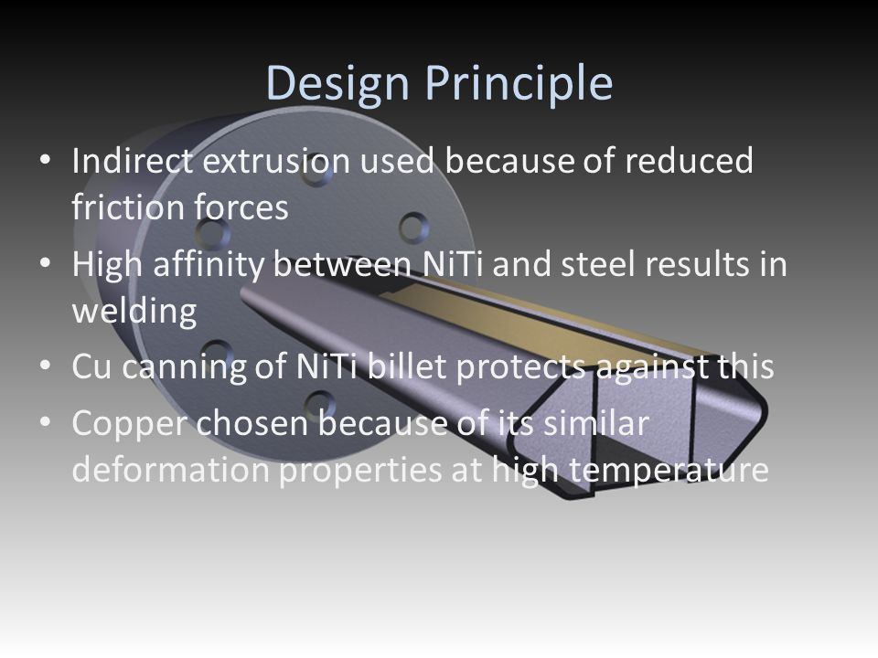 Design Principle Indirect extrusion used because of reduced friction forces. High affinity between NiTi and steel results in welding.