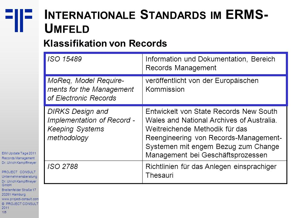 Internationale Standards im ERMS- Umfeld