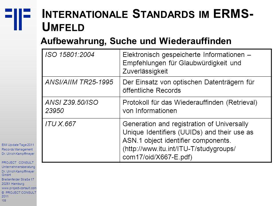 Internationale Standards im ERMS- Umfeld