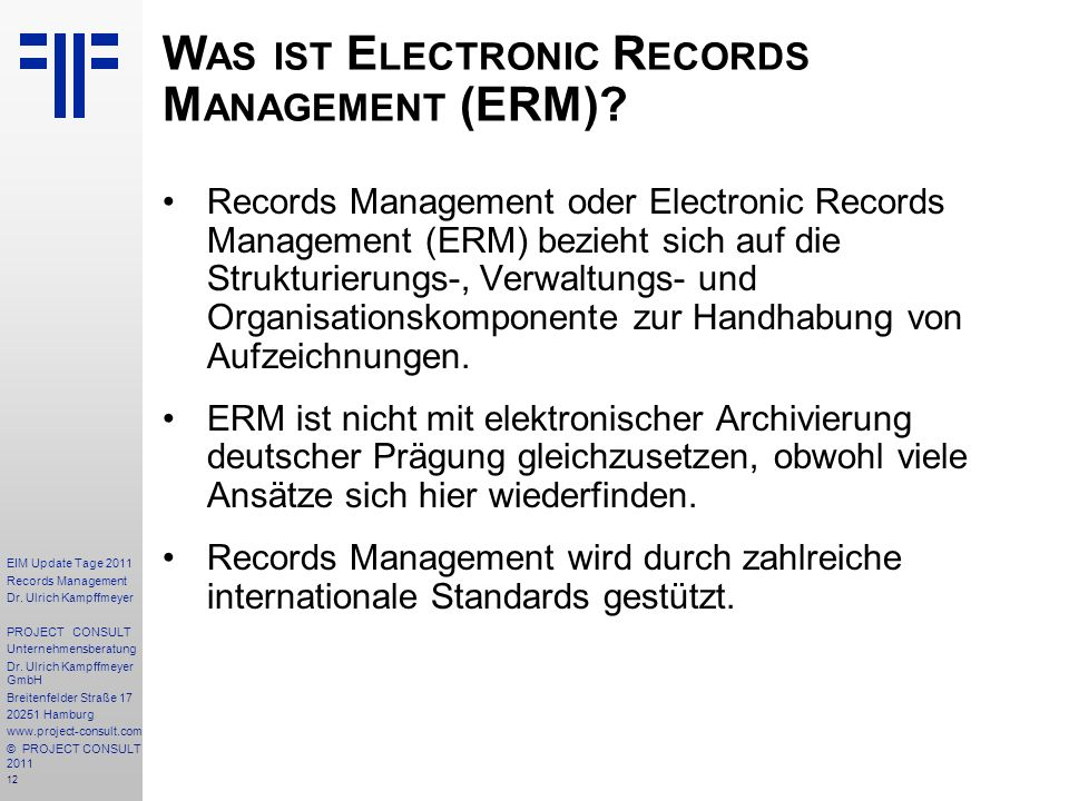 Was ist Electronic Records Management (ERM)