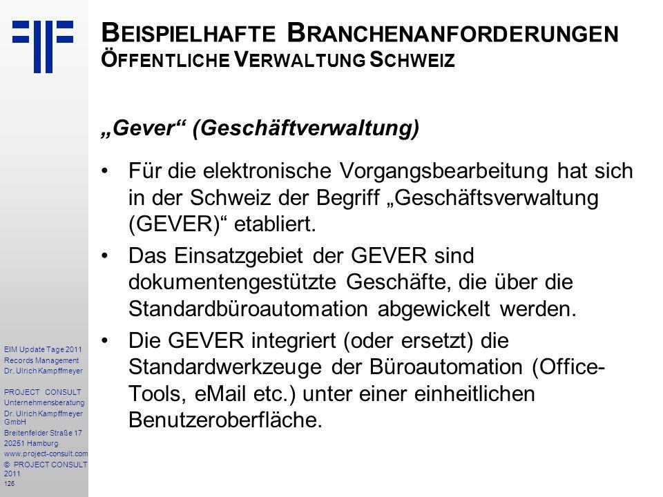 Beispielhafte Branchenanforderungen Öffentliche Verwaltung Schweiz