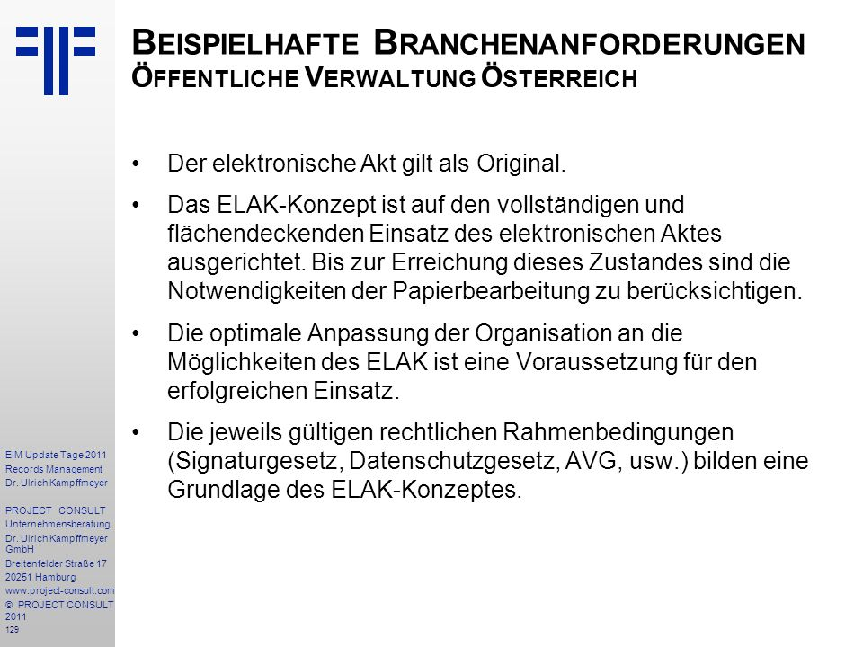 Beispielhafte Branchenanforderungen Öffentliche Verwaltung Österreich