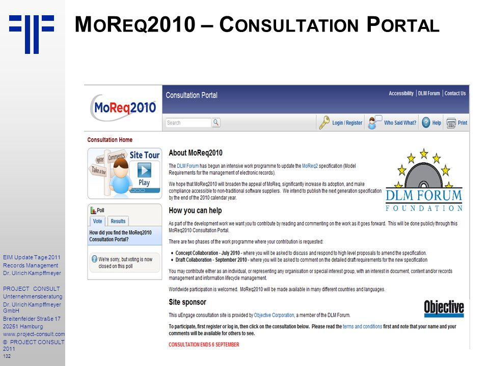 MoReq2010 – Consultation Portal