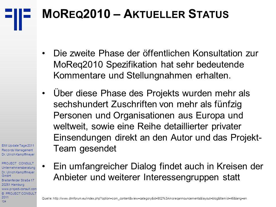 MoReq2010 – Aktueller Status