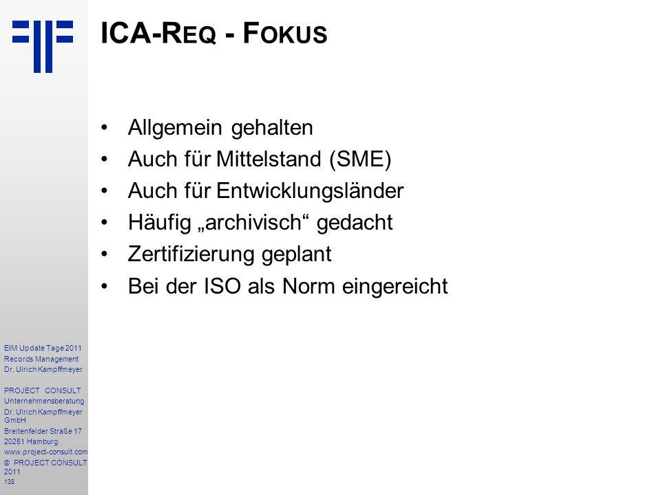 ICA-Req - Fokus Allgemein gehalten Auch für Mittelstand (SME)
