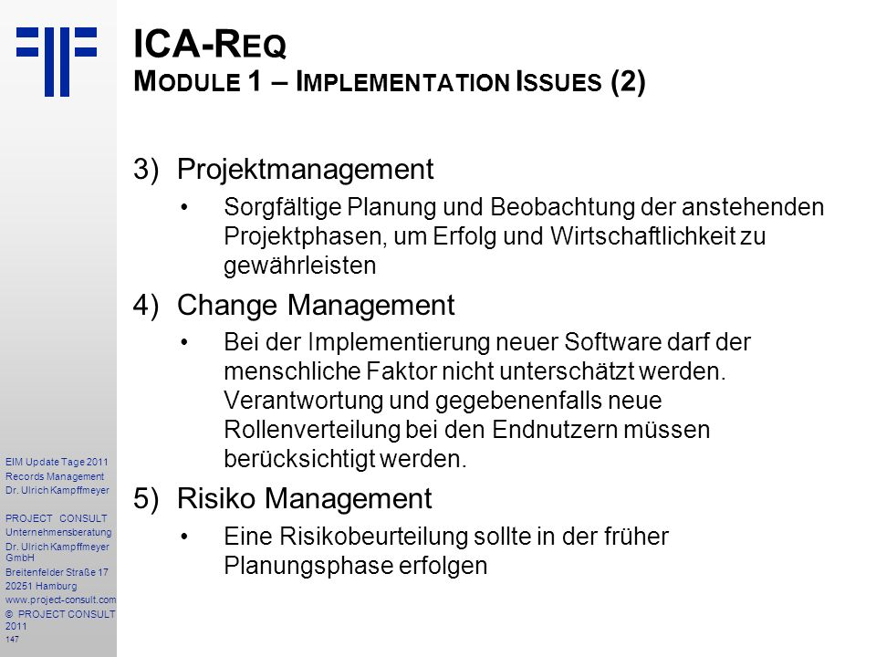 ICA-Req Module 1 – Implementation Issues (2)