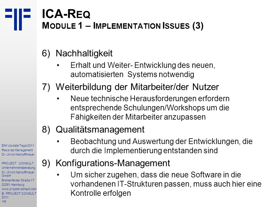 ICA-Req Module 1 – Implementation Issues (3)