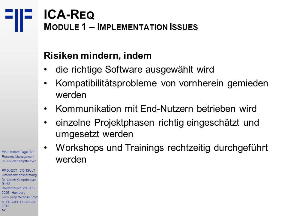 ICA-Req Module 1 – Implementation Issues