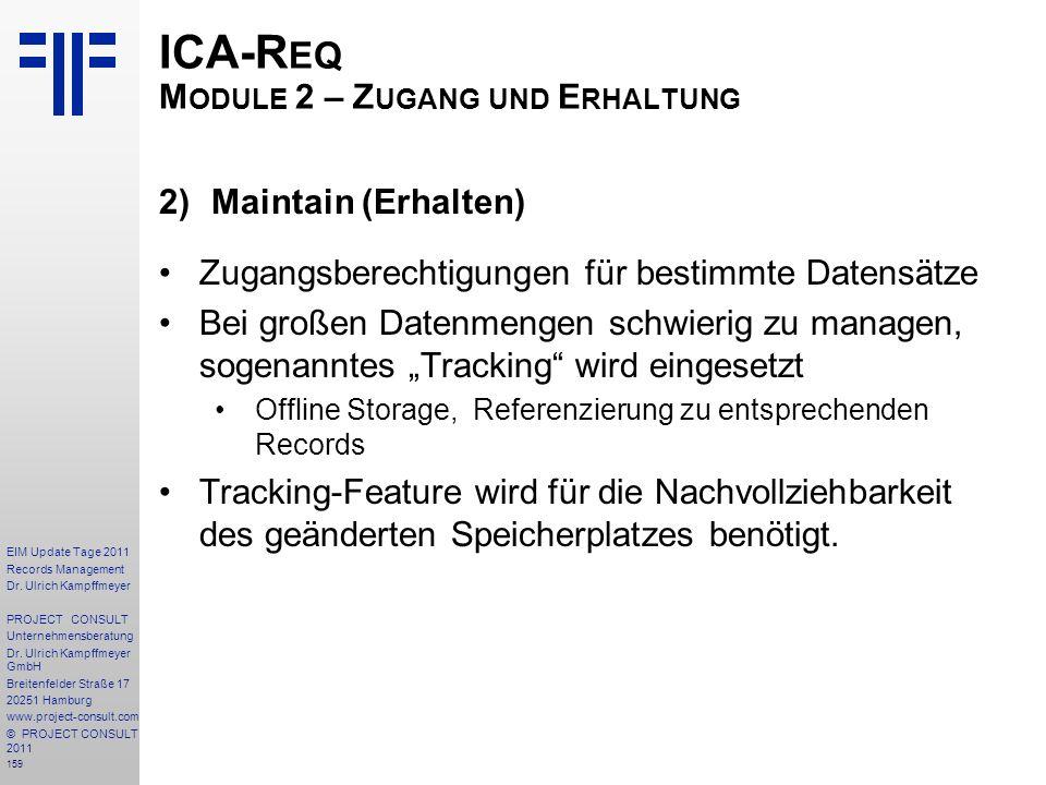 ICA-Req Module 2 – Zugang und Erhaltung