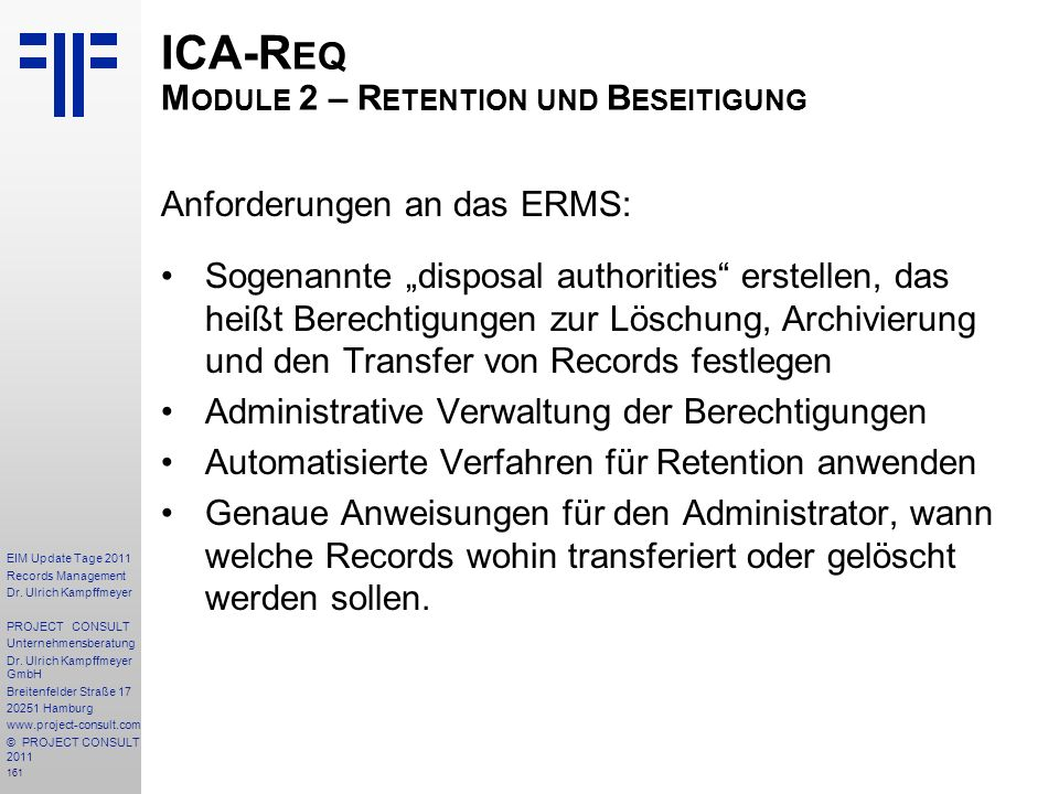 ICA-Req Module 2 – Retention und Beseitigung