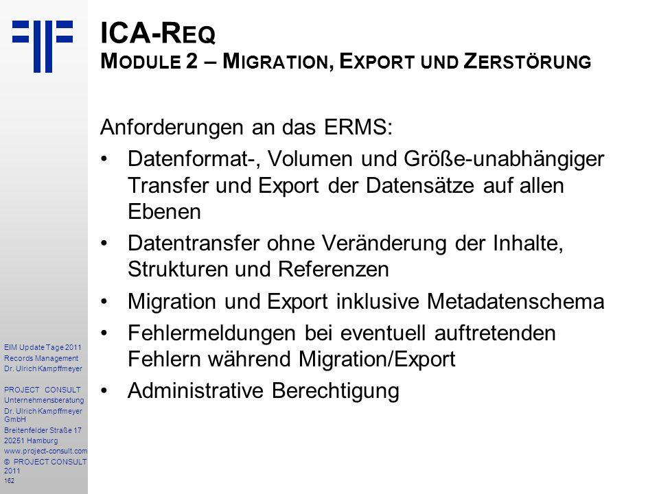 ICA-Req Module 2 – Migration, Export und Zerstörung