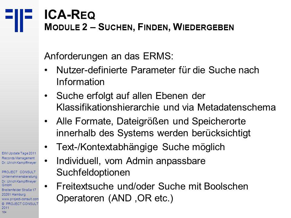 ICA-Req Module 2 – Suchen, Finden, Wiedergeben