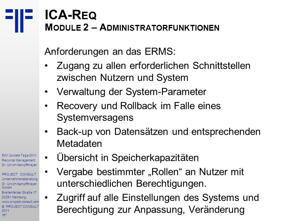 ICA-Req Module 2 – Administratorfunktionen