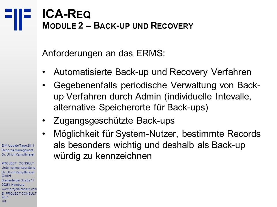 ICA-Req Module 2 – Back-up und Recovery