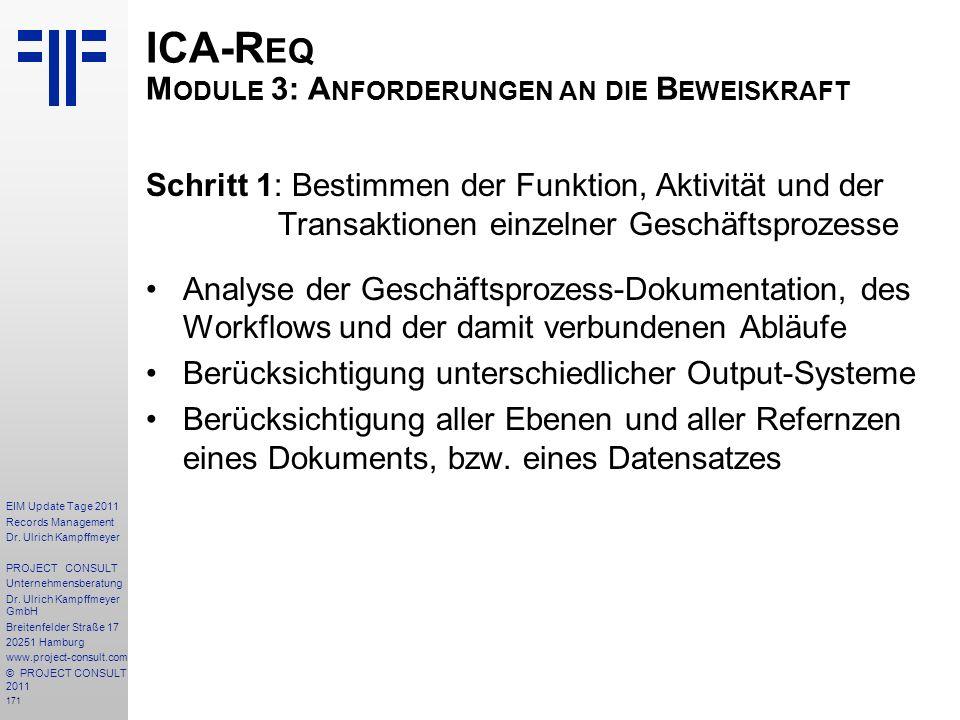 ICA-Req Module 3: Anforderungen an die Beweiskraft