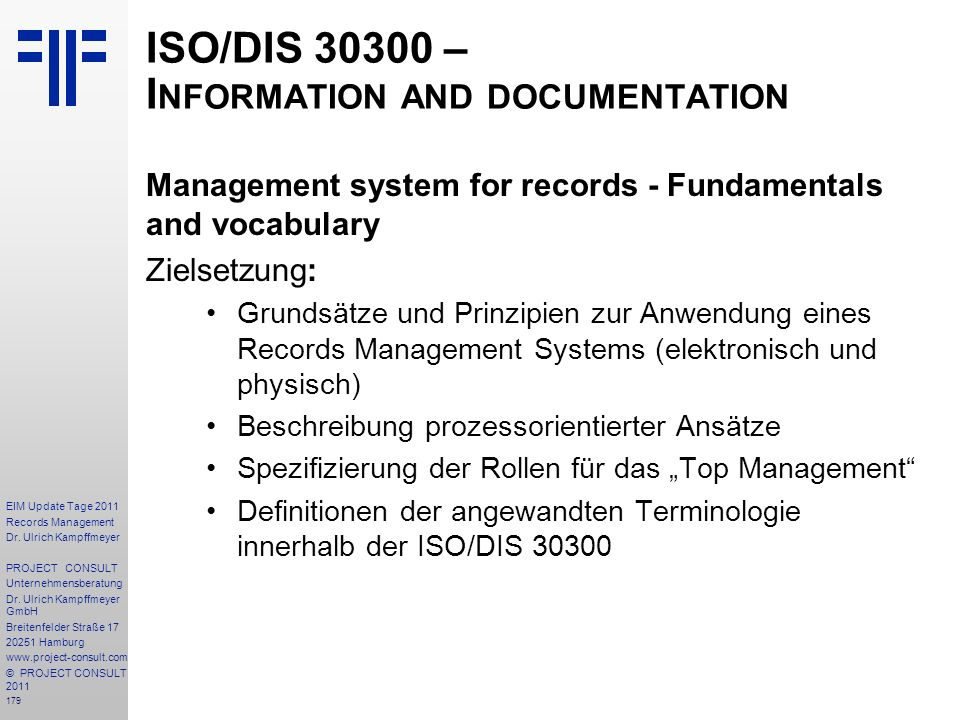 ISO/DIS 30300 – Information and documentation