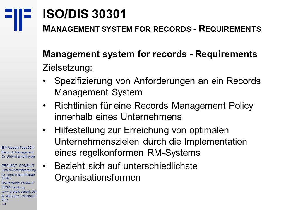 ISO/DIS Management system for records - Requirements