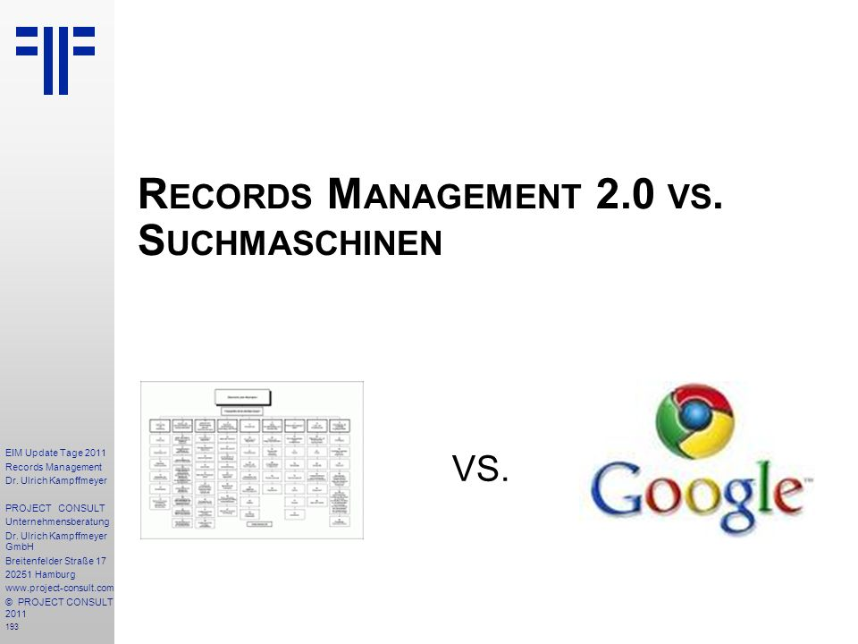 Records Management 2.0 vs. Suchmaschinen