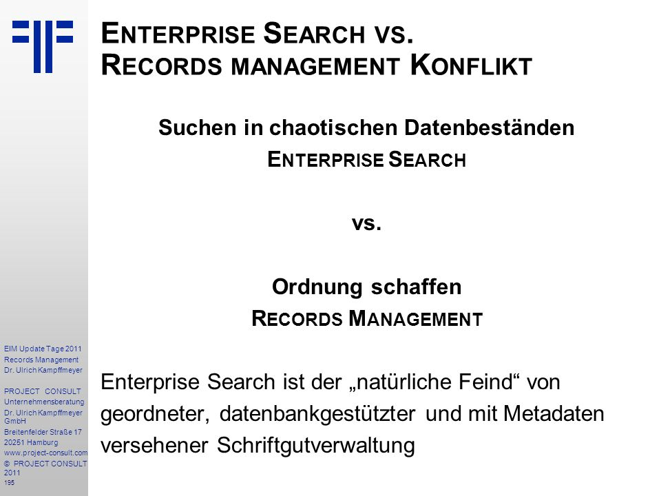 Enterprise Search vs. Records management Konflikt